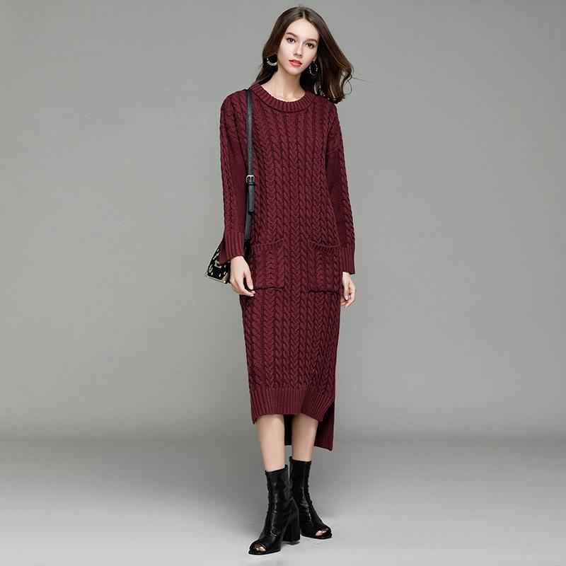 e314f182d55 Women Cable Knitted Dress Autumn And Winter New Style Super Long Pullover  Sweater Dress Coat Fashion Knitwear Women Women Cable Knitted Dress Long  Sweater ...
