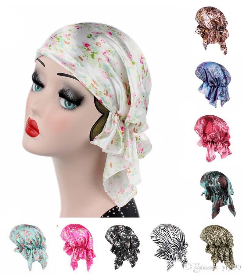 9a7f8cd7ebe Women muslim silk print headwrap cap turban hat chemo skull hair jpg  800x902 Silk head scarf