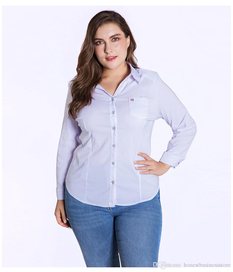 4ca74be4d72 2019 Miaoke Plus Size Womens Tops And Blouses Clothes 2018 Fashion Long  Sleeved White Blouse Large Size Ladies Tops 4xl 5xl 6xl From  Honestbusinessstore