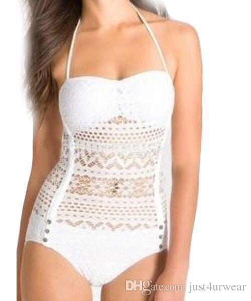Trajes de baño de una pieza de las mujeres Summer Beach Lace Hook Negro Blanco Bikinis Romper Backless traje de baño