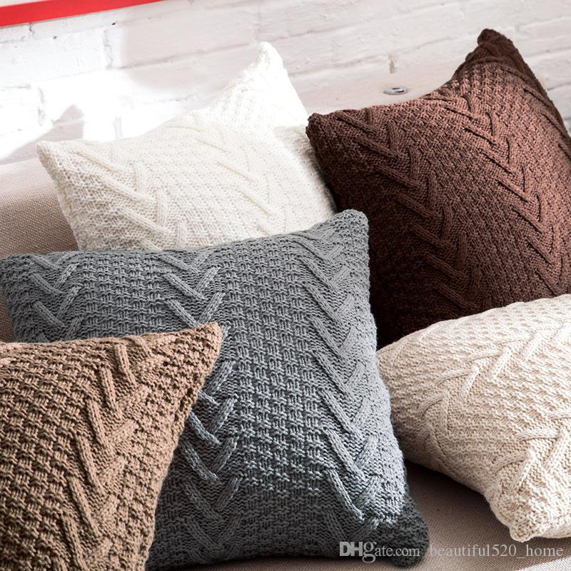 Lovely Knitted Decorative Cushion Covers Square 45cm X 45cm Sofa Throw Pillow Covers Imitation Cashmere Pillow Cases Bh Patio Throw Pillows Patio Furniture For Your Plan - Luxury throw pillows for sofa Photo