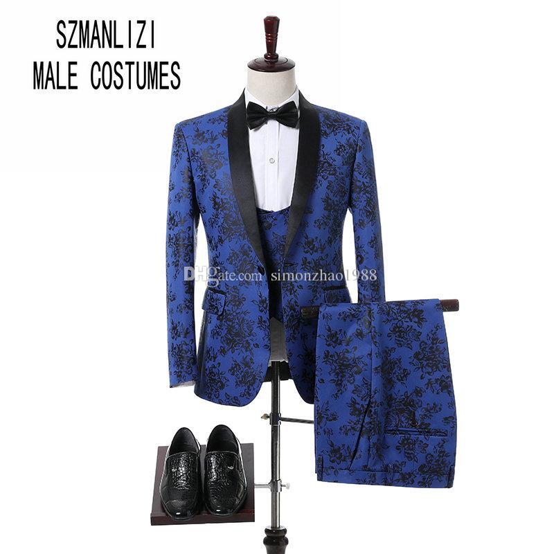 Costume Homme Bleu Fleur Business Hommes Costumes 3 Pièces Slim Fit Tuxedos De Mariage Garçons D'honneur Meilleur Homme Formelle Costume pour Hommes Smokings