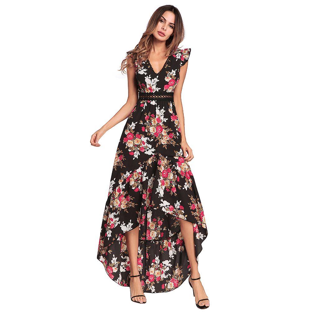 7a5b8784b0 Women Summer Chiffon Dress Floral Print V Neck High Low Asymmetric Beach  Dress Backless High Waist Maxi Gown Elegant Partywear Black And White  Dresses ...