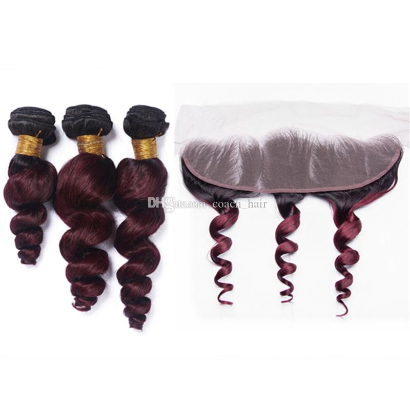 Black Roots Burgundy Ombre Loose Wave Human Hair Weaves with Lace Frontal Closure 1B 99J Wine Red Ombre Indian Hair Bundles and Frontal