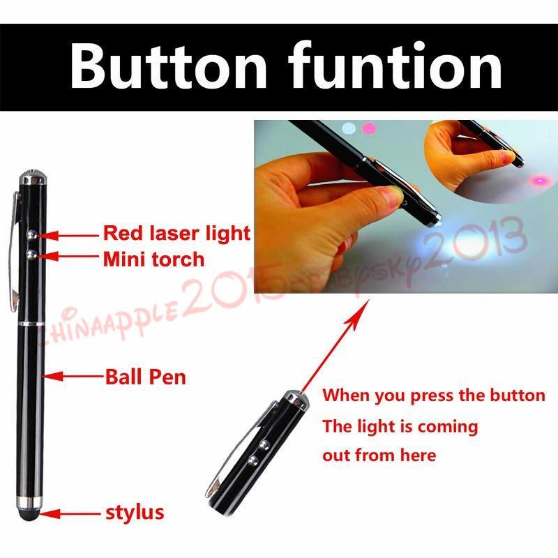 4 in 1 Penna a sfera dello schermo del touch screen a LED Smart Phone Samsung Tablet PC mp3