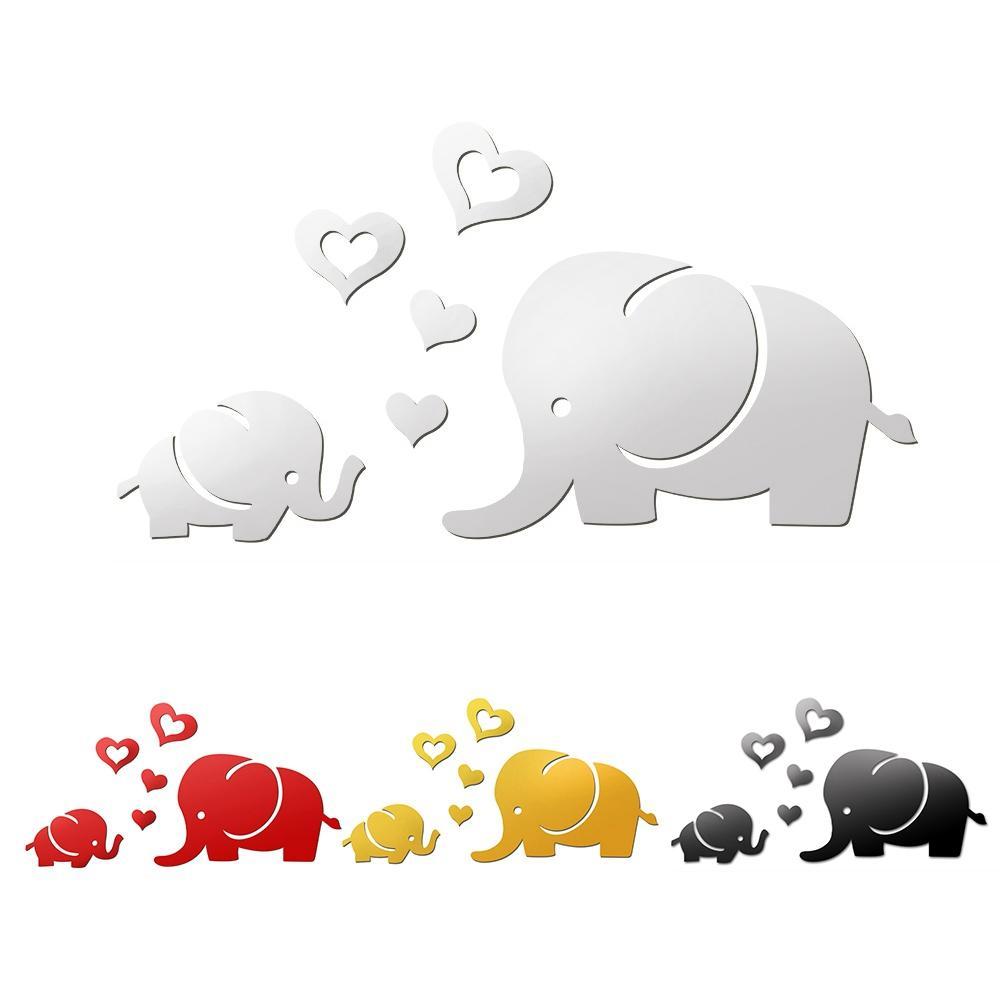 Grosshandel Elefant Spiegel Wandaufkleber Diy Abnehmbare Art Baby