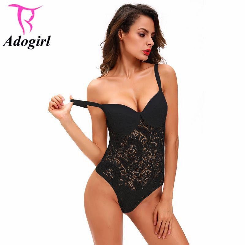 3e028aec0c2e6 Black Sexy Push Up Body Suit Women's Lace Underwear Night Erotic Pajamas  Spaghetti Strap Bodysuits Teddies Lingerie Baby Dolls S1012