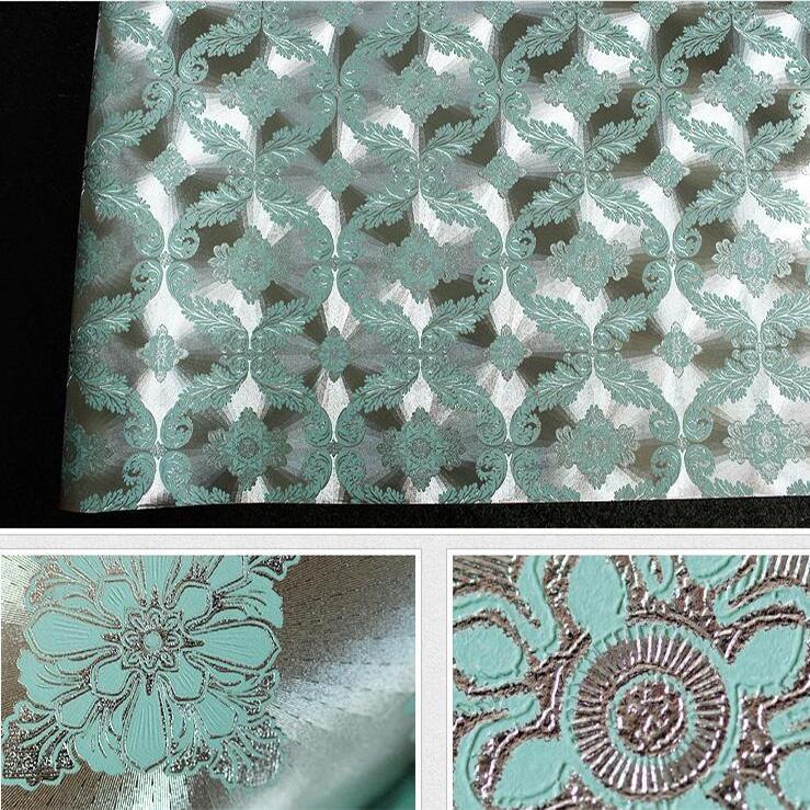 Turquoise Silver Foil Embossed 3d Vintage Damask Wallpaper Moving