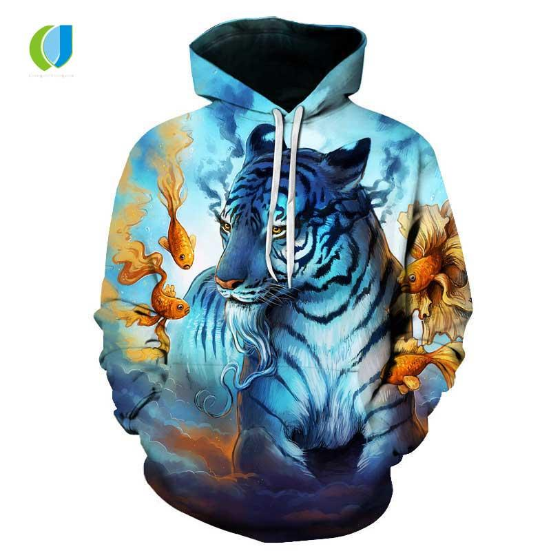 b2f5b718f 2019 Autumn New Fashion Men'S / Women'S 3D Printing Hoodie Animal Print  Funny Color Panda / Tiger Blue Flame Dragon Casual Hoodie From Dolylove, ...