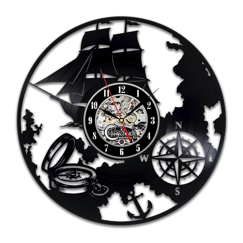 Treasure Map Art Ship Navigation Decoration Captain Gifts Wall Clock