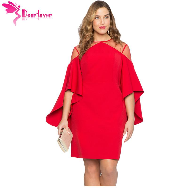 Dear Lover Autumn 2018 Party Black Red Mesh Illusion Cold Shoulder Bell  Sleeve Plus Size Dress Women Clothing Vestidos LC220395