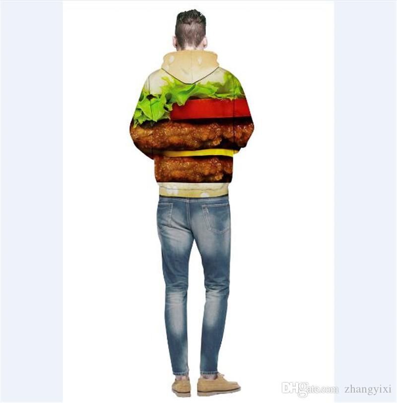 Toptan ücretsiz kargo Moda Tişörtü Erkekler Kadınlar Kapşonlu Hoodies hamburger Çiçek 3d Dijital Baskı Pamuk Kazaklar Hoody