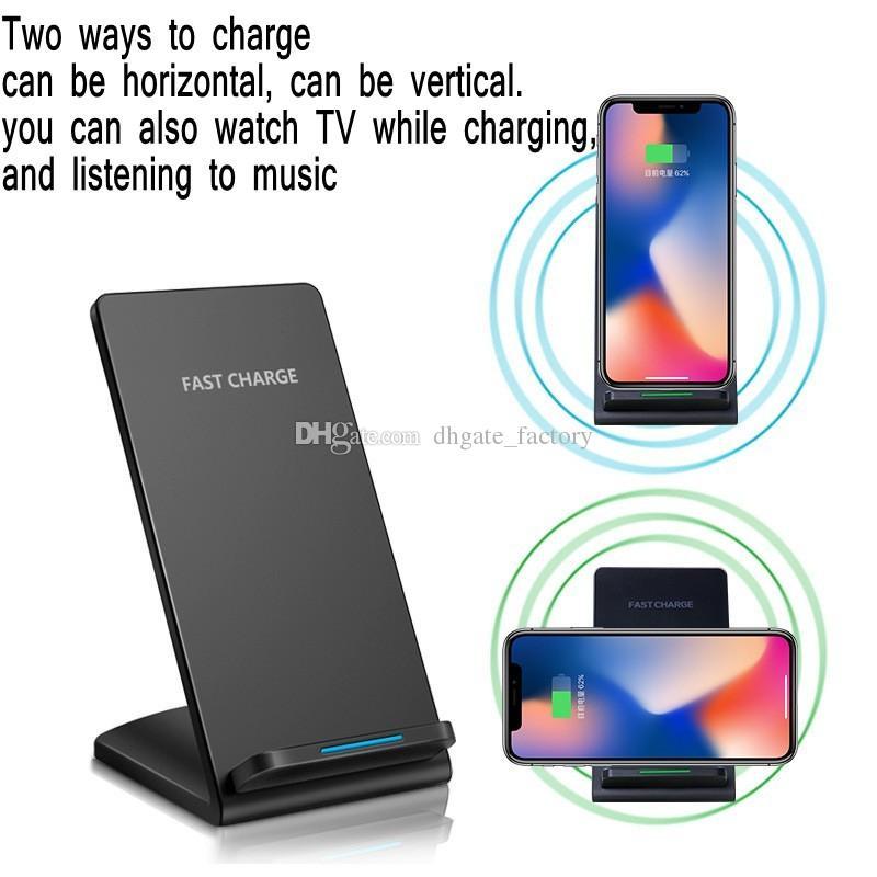 Cargador inalámbrico Qi de 2 bobinas de baja temperatura Soporte rápido para Apple iPhone 8 8 Plus Samsung s8 plus S7, todos los Smartphones con capacidad Qi se envían gratis