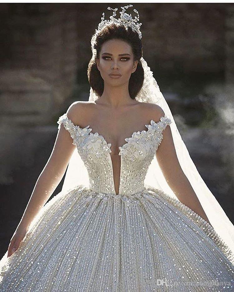 2019 Schulterfrei Spitze Appliques Ballkleid Brautkleider Pailletten Brautkleider Kapelle Zug Formale Kirche Arabisch Dubai Luxuriöse E25