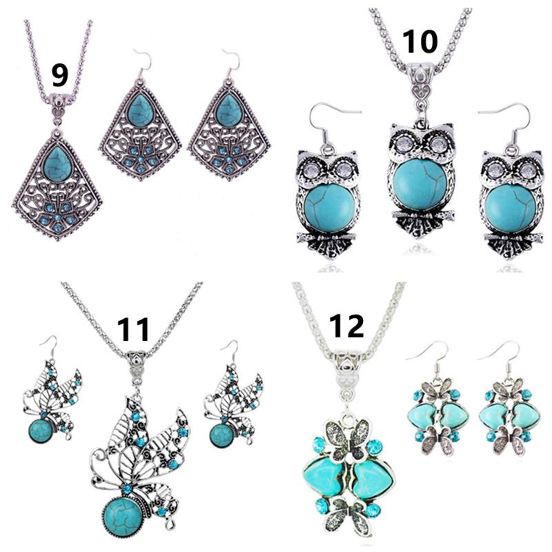 Fashion Jewelry Sets Turquoise Elephant Owl Love Butterfly Animal Earrings & Necklace For Women Bohemian Vintage Necklace Jewelry Gift