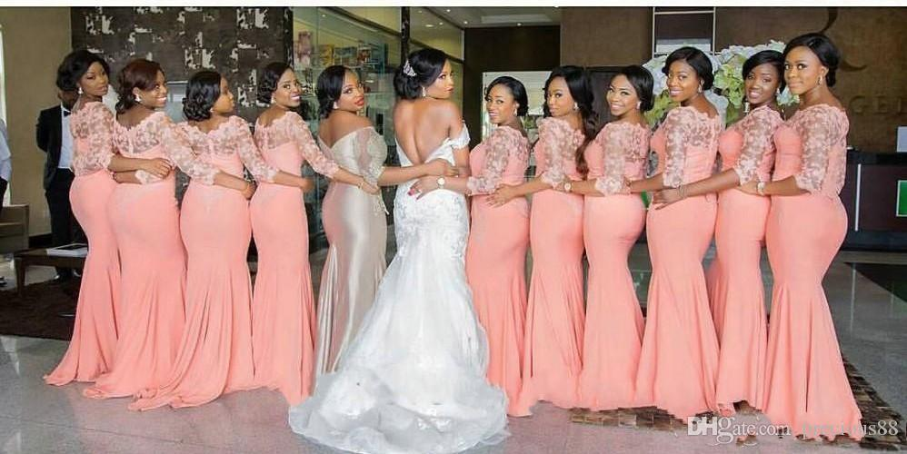 2018 Arabic African Bridesmaid Dresses Coral With Half Sleeves Plus ...