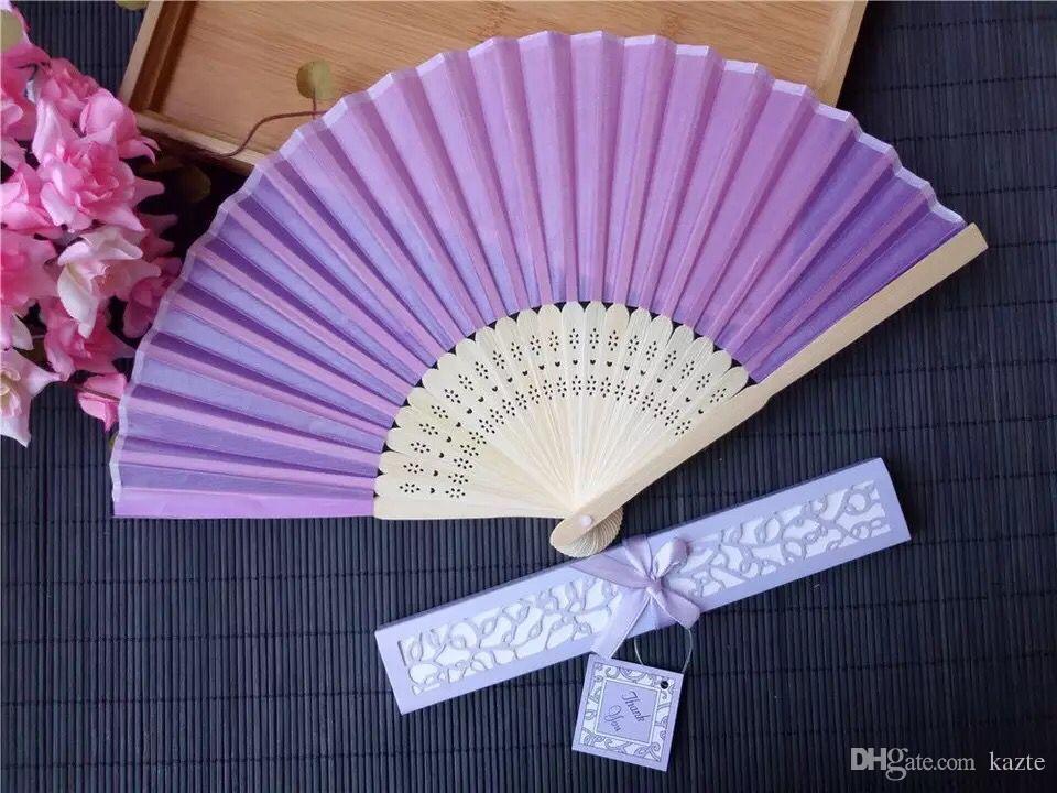 Дешевые Китайские Имитация Шелковые Ручные Вентиляторы с коробкой Пустой Свадебный Вентилятор Для Свадьбы Невесты Гостевые Подарки 50 ШТ. В Пакете