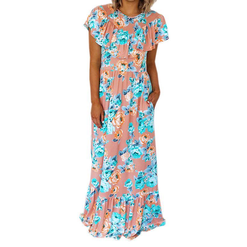 f3b21737ce38f7 Großhandel Schmetterlingshülse Rüschen A Line Maxi Kleid Sommer Strand Boho  Weibliche Sommerkleid Frauen Floral Bedruckt Plus Size Lange Kleider Von ...