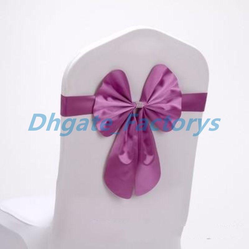 Spandex Wedding Chair Sashes Wholesale Bow Bowknot Chiffon Willow Elastic Cover Organza Chairs Sash Buckle Pink Back Ribbon Bands Belt 2sk