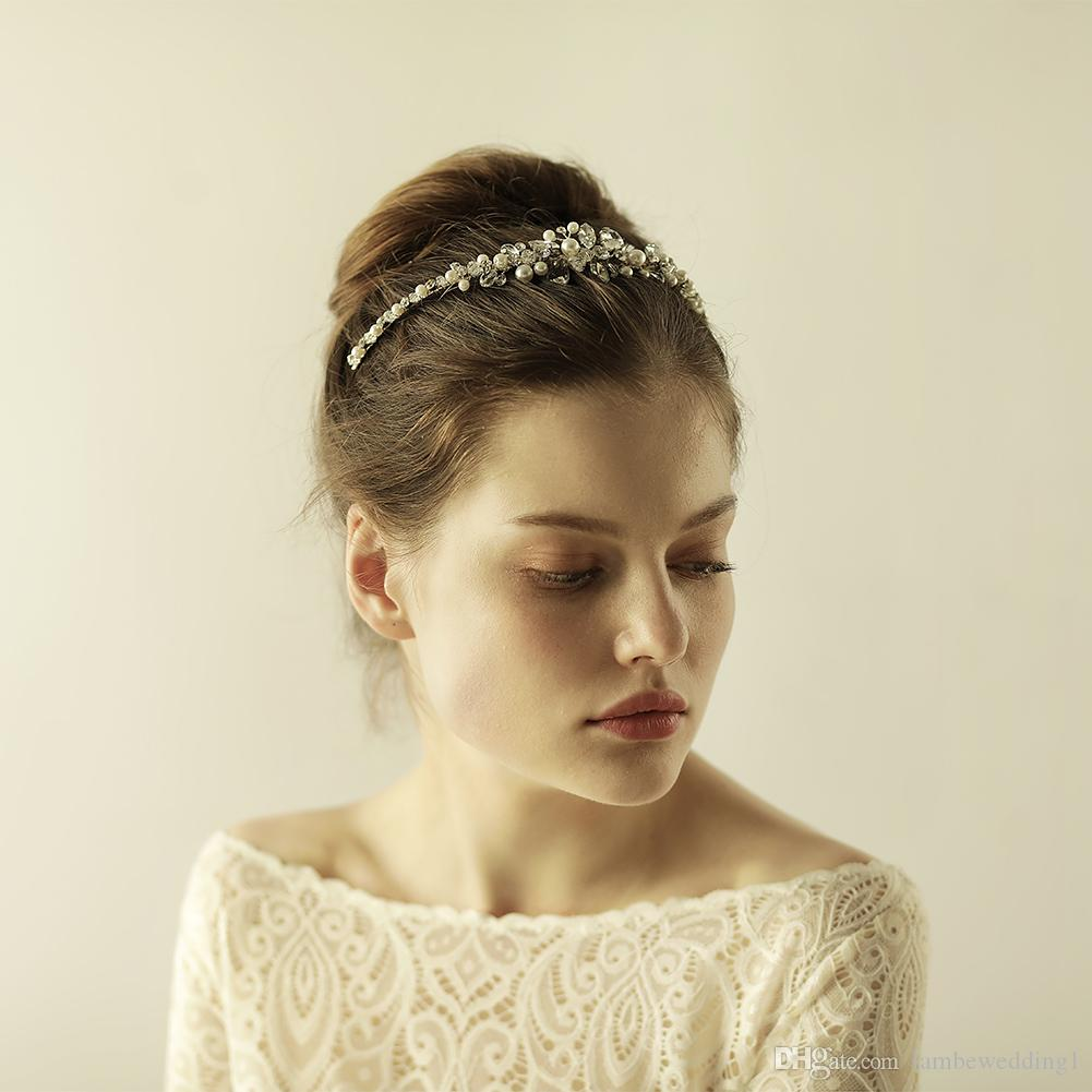2018 High Quality Silver Wedding Accessories Crystal Rhinestone And Pearl Handmade Bridal Headpieces Tiaras Bridal Hairbands