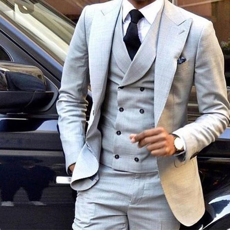 cfa5c9d0327 2019 Custom Made New Style Light Grey Men Suit Double Breasted Slim Fit  Skinny Tuxedo Groom Custom Blazer Jacket+Pants+Vest From Baldwing