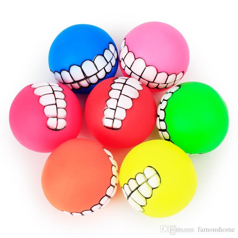 dog player sound making teeth ball puppy dog cat chew sound toys balls pet rubber fetch ball supplies dhl shipping pet doll sound making teeth ball puppy