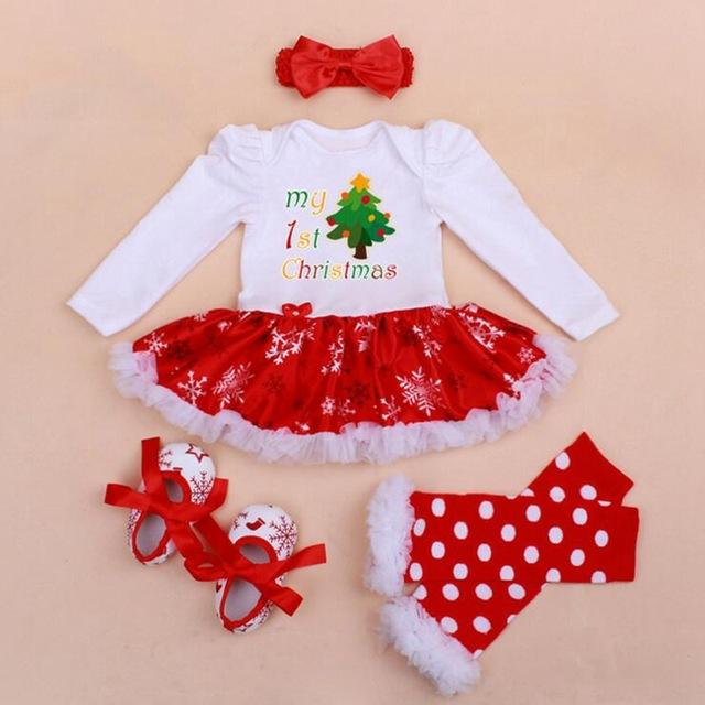 2018 my 1st christmas girls outfits tutu lace romper dress headband leg warmers crib shoes newborn baby girl clothes infant clothing from okbrand