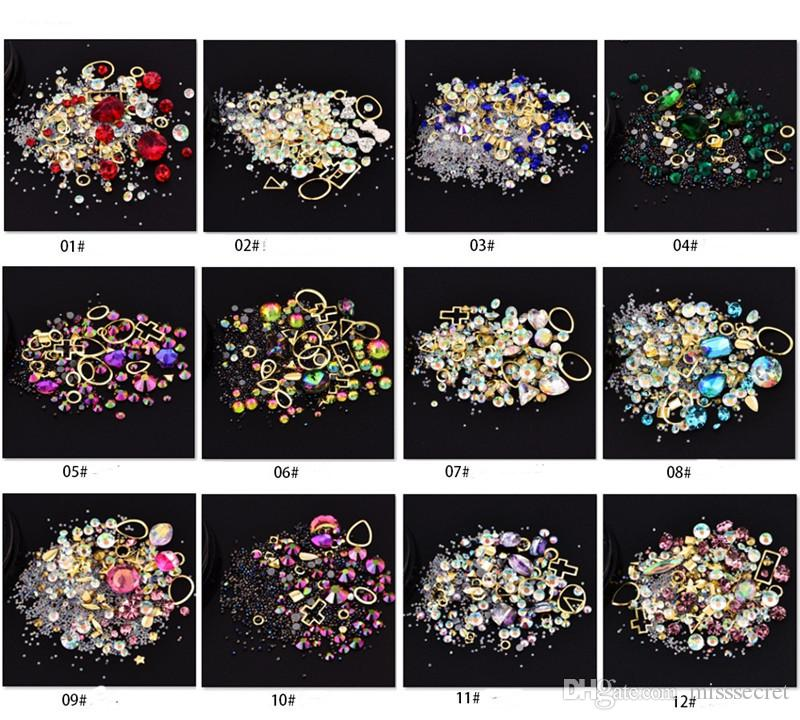 مختلط ستليي 3D مسمار الفن زينة الماس يلمع اللوازم فن الأظافر مجوهرات اكسسوارات مانيكير 12 الألوان
