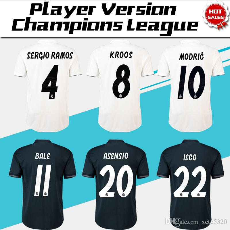 best sneakers c6ee6 ad4a1 2019 Champions League Player Version Soccer Jersey 18/19 Real Madrid Home  Soccer shirt #7 RONALDO #8 KROOS #22 ISCO Football uniform