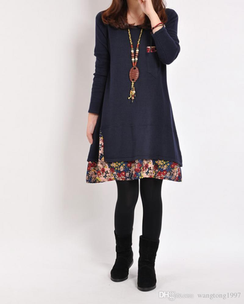 2018 Women Casual Dress Sweater Dress New Fashion Long Sleeve Loose
