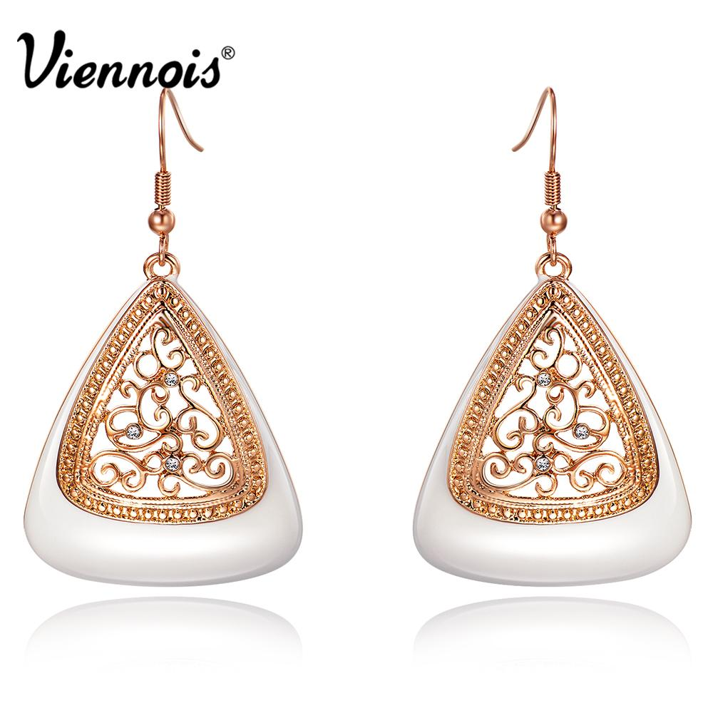Viennois New Fashion Rose Gold Color Long Dangle Earrings for Women  Rhinestone Hollow Flower Enamel Drop Earrings Jewelry Earrings Women  Earrings Dangle ... 0a230030c907