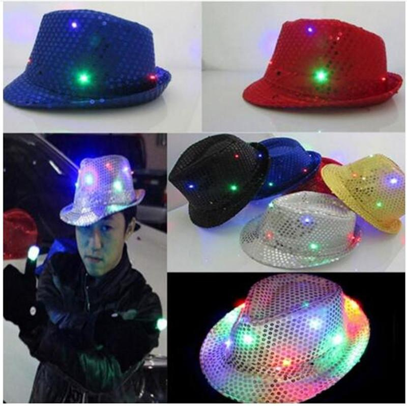 5ed87e48e9e 2019 Flashing Light Up Led Fedora Trilby Sequin Unisex Fancy Dress Dance  Party Hat LED Unisex Hip Hop Jazz Lamp Luminous Hat TO658 From Lihaoyx