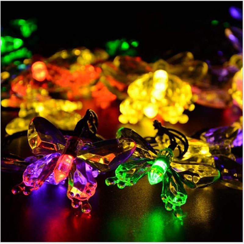 Wholesale  Solar Power Led Holiday Light ,led Christmas Light ,4.8M  Butterfly Led String For Garden ,trees ,housing Decoration Holiday Lights  Christmas ...