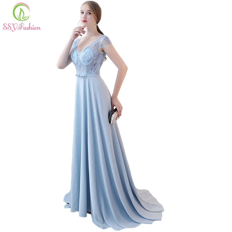 Ssyfashion New Evening Dress The Bride Banquet Luxury Beading Light ...