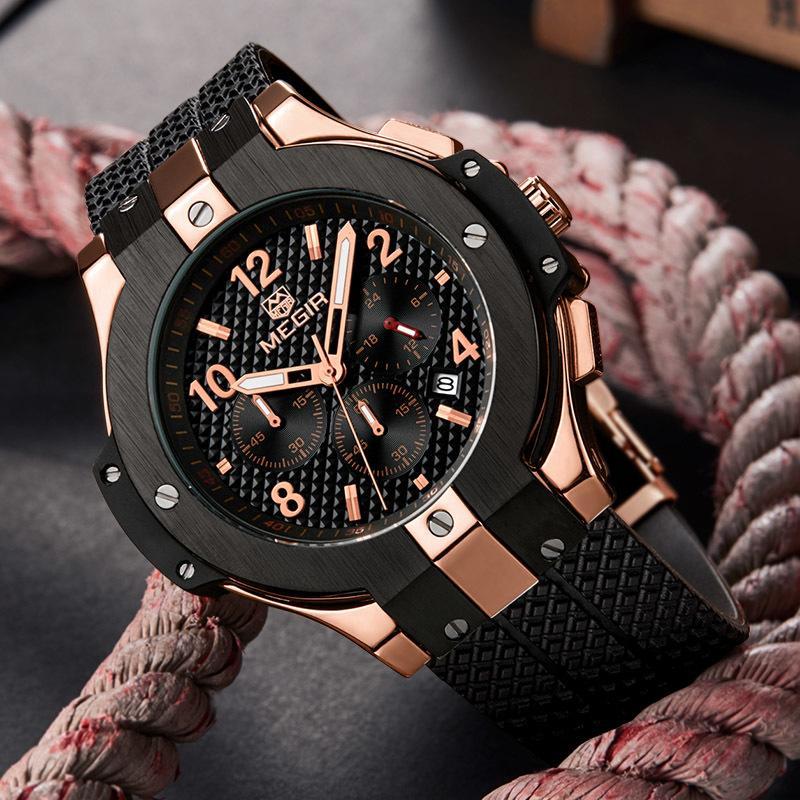 344d2de88119 Compre Megir Relojes Hombres Reloj Hombres Relojes De Pulsera Impermeable  Cronógrafo Hombre Reloj Militar Deporte Cuarzo Relojes Para Hombre Marca  Superior ...