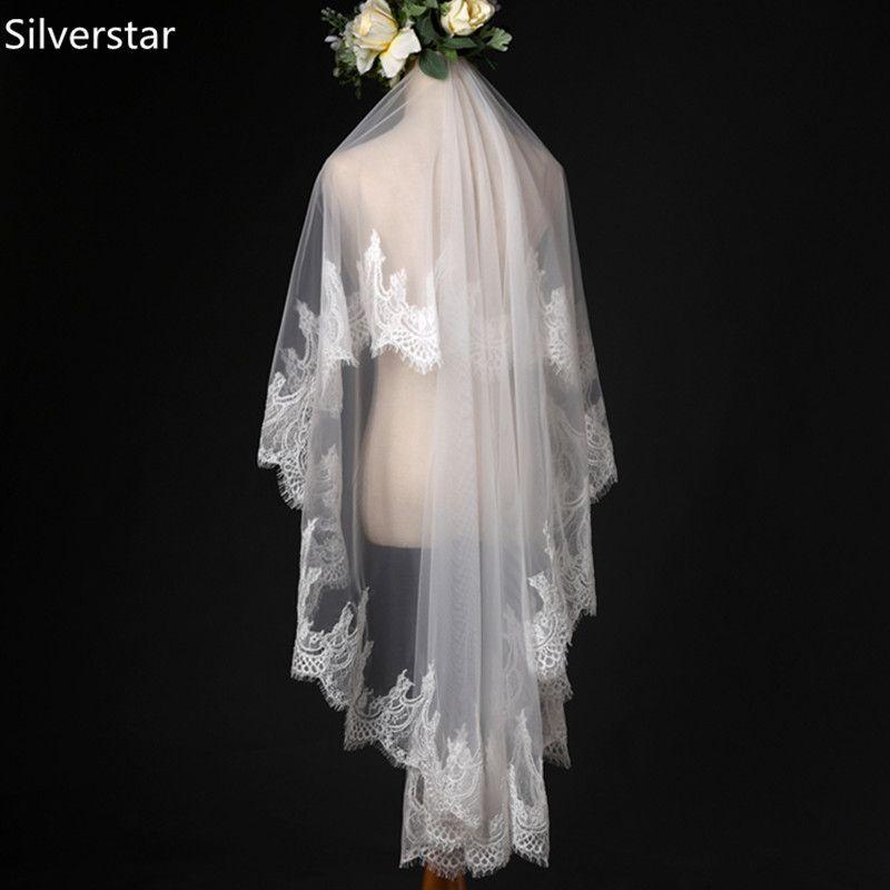 b47420c2b5 Bridal Veil Beautiful Ivory Cathedral Short Wedding Veils Lace Edge ...