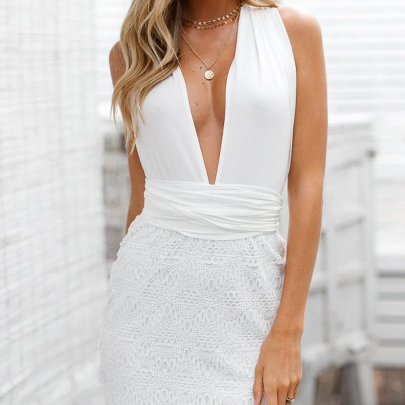 81cb8a3150 Compre 2018 Vestidos De Mujer Vestido De Verano Sin Espalda De Playa Vestido  De Encaje Ahueca Hacia Fuera Cintura Alta Con Cuello En V Sin Mangas Corto  Sexy ...