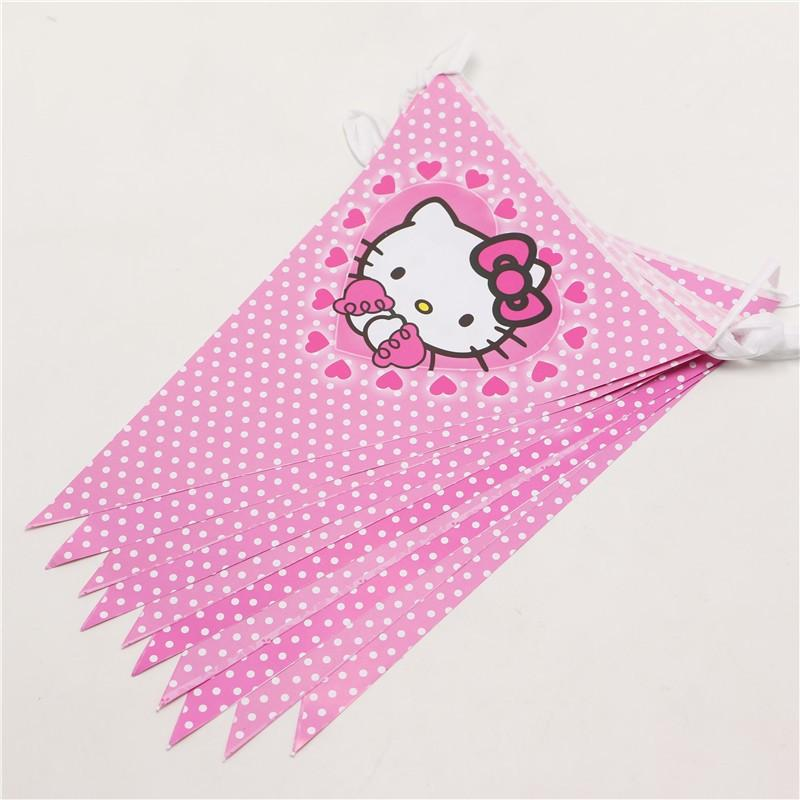 Banners Hanging Girls Birthday Party Decoration Supplies Banner Flag Hello Kitty Cat Paper Pennant 1pack