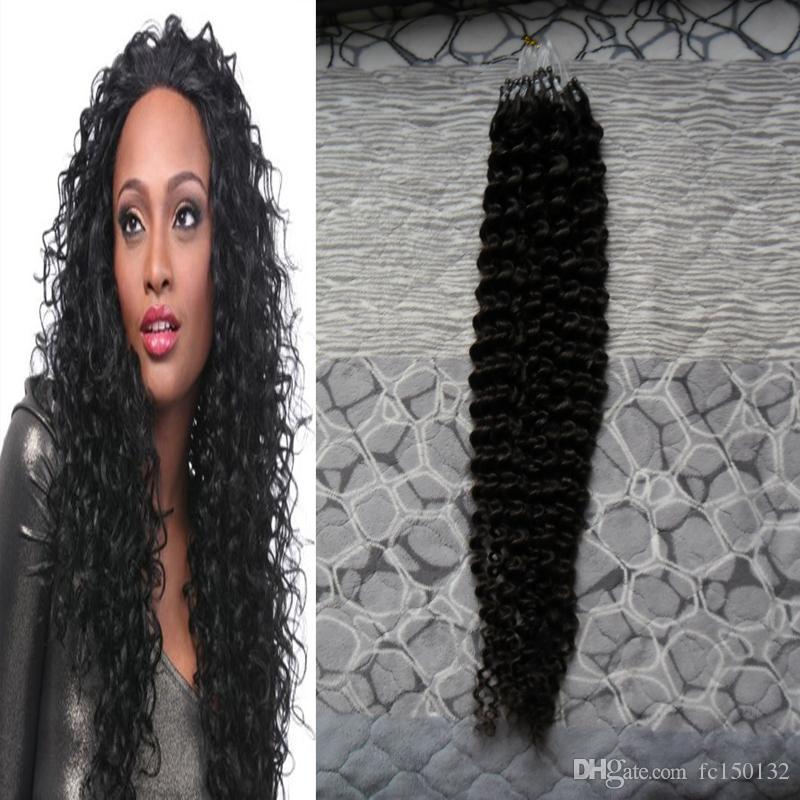#1 Jet black kinky curly virgin hair micro loop human hair extensions 100g/pcs micro loop 1g curly micro loop human hair extensions