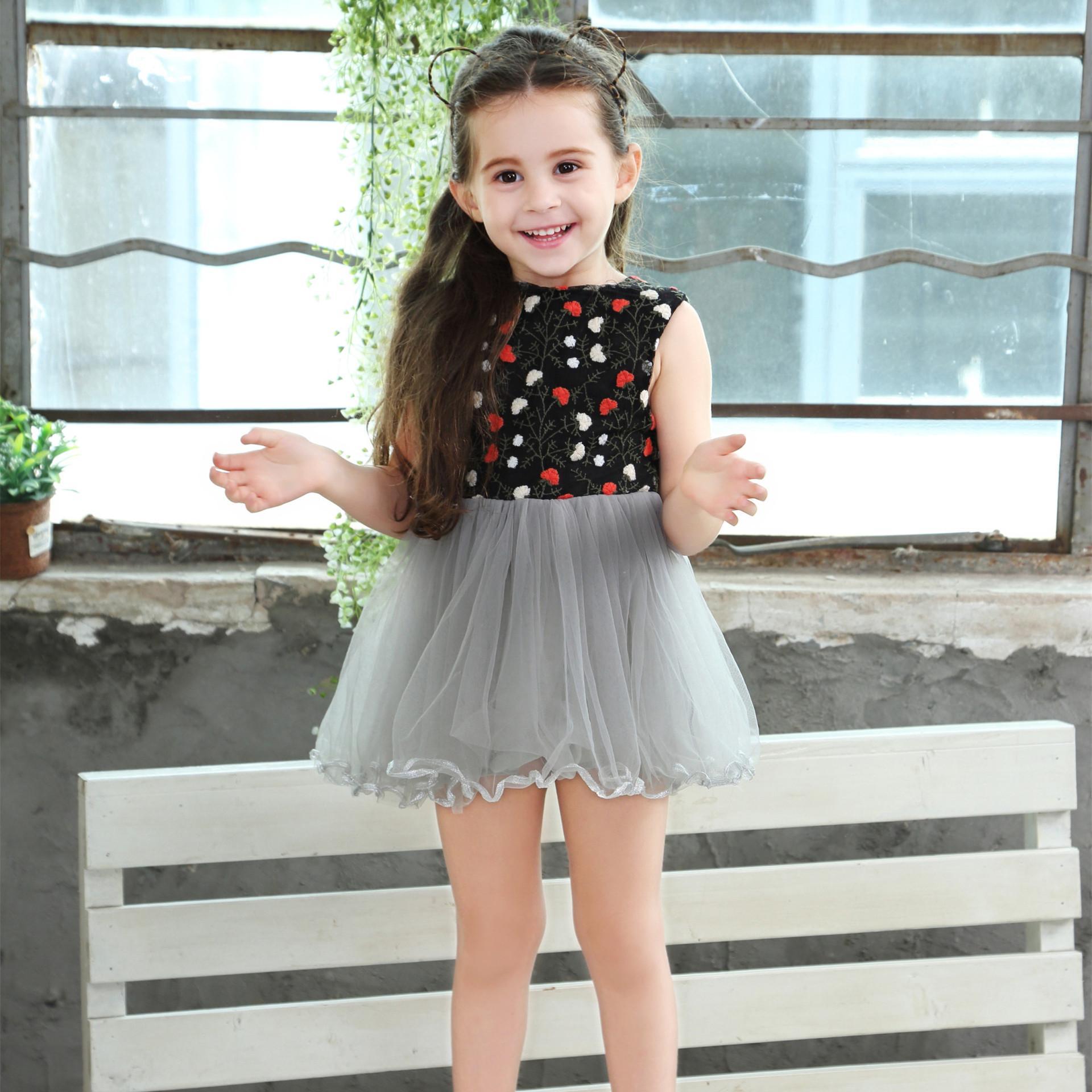 2018 Summer 2018 New Girls Embroidery Dress Girl Fashion Dresses V