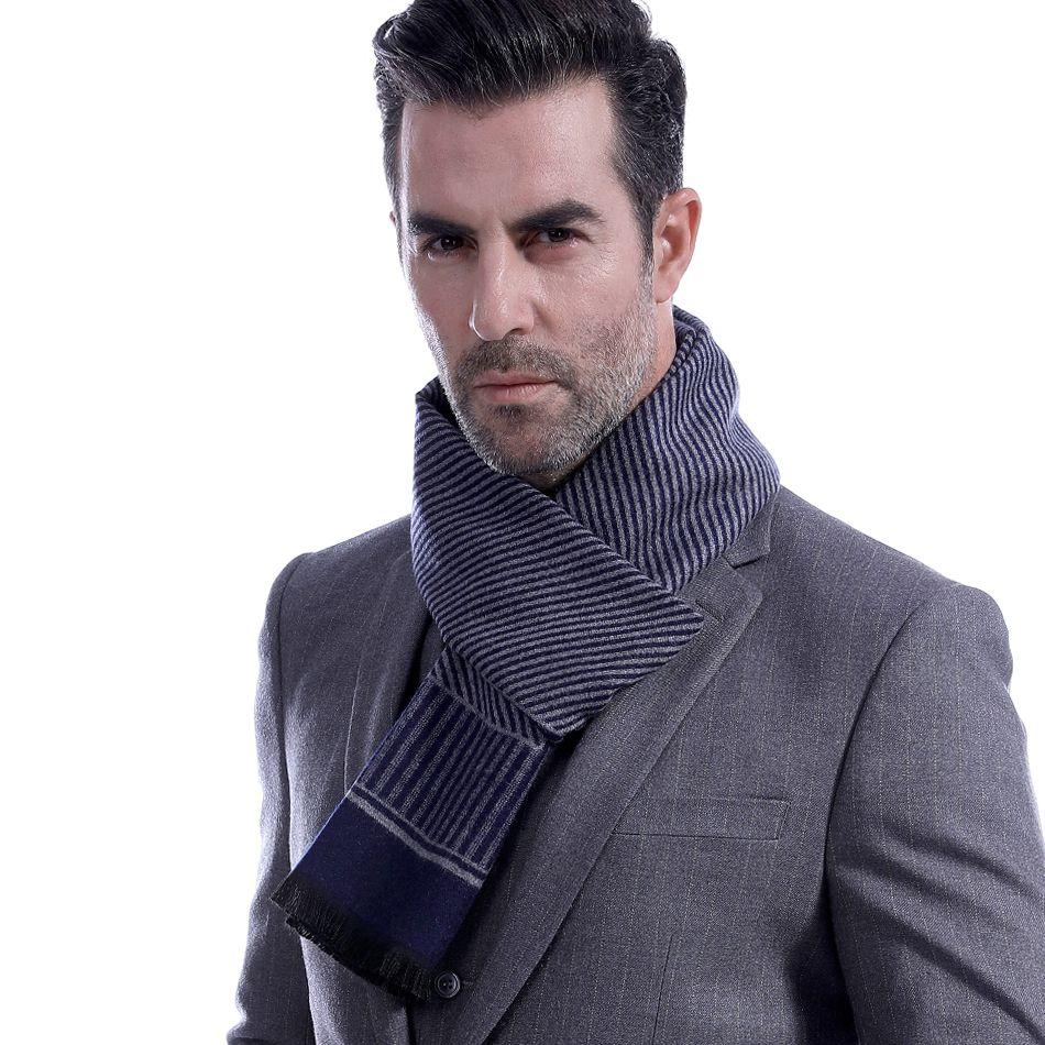 selezione migliore 44c0b b7603 Uomo Sciarpa Inverno Autunno Uomo Sciarpe in cotone di lana cachemire misto  sciarpa a righe lungo termica spessa uomo caldo maschile