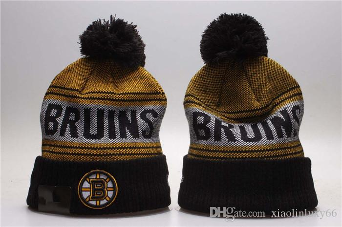 131c8a62379df 2018 Yellow Black Color Boston Bruins Knitted Ice Hockey Pom Cuff ...