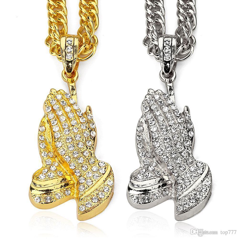 Jewelry 2018 >> Wholesale 2018 Rock Hip Hop Jewelry Men Necklace Buddha Hands