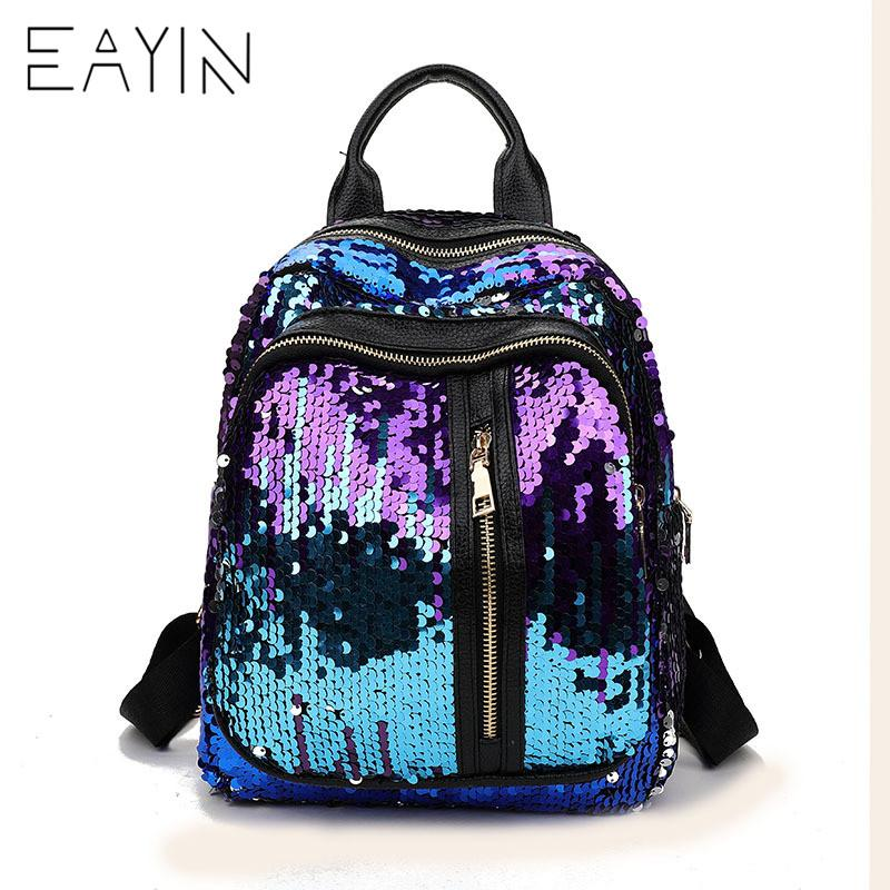 29d451195b33 EAYIN Shining Sequins Backpack Korean Style Women Backpacks Cute Party  Design For Teenager Girls Small Shiny Travel Schoolbag School Bags  Messenger Bags ...