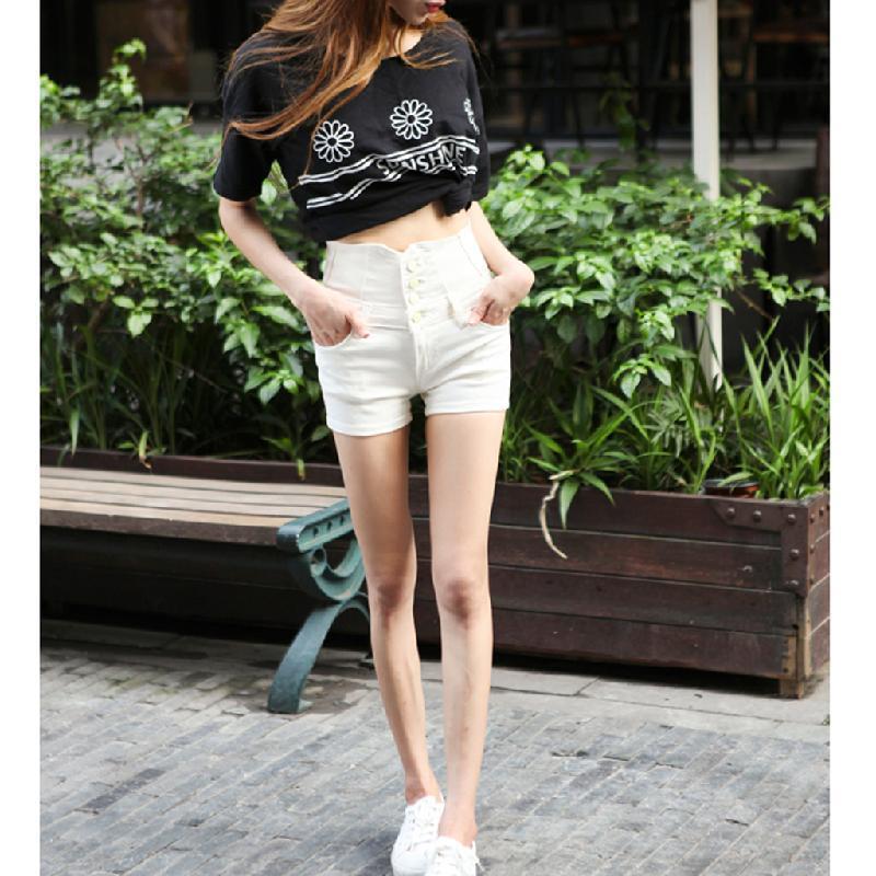 Please Korte Broek Dames.2019 Summer Ladies Shorts Woman High Waist Short Cotton Blend Slim