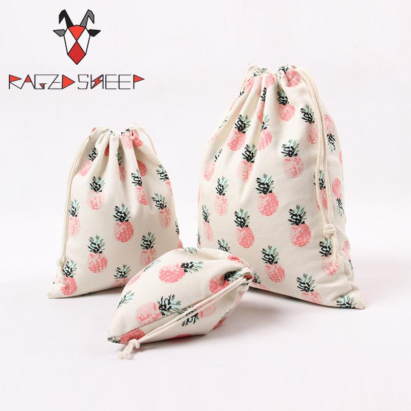 Raged Sheep Fashion Drawstring Cotton Grocery Shopping Bags Folding Shopping Cart Eco Pineapple Printed Reusable Bag