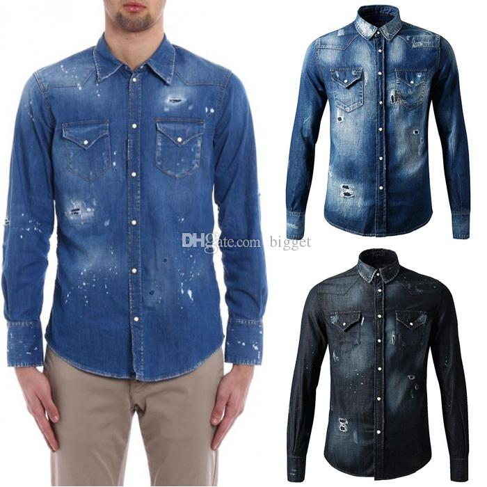 78edd59b0b 2019 3XL Denim Cotton Painted Long Shirt Cool Guy Stone Wash Fading Effect  Buttoned Cuffs Cowboy Shirt Man Slim Fitness From Bigget
