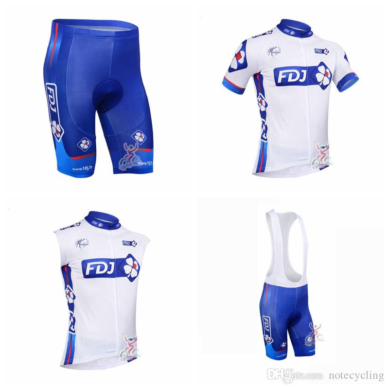 FDJ Cycling Short Sleeves Jersey (bib) Shorts Sleeveless Set Jersey Bike 2018 new hot traspirante e asciugatura rapida ropa ciclismo A41330