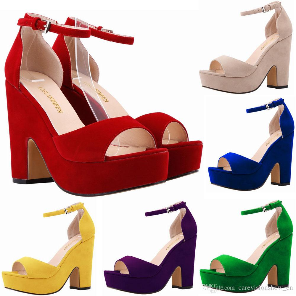 cec03e639d56 Summer Ankle Strap Women Pumps Sexy Peep Toe Square High Heels Woman Shoes  Flock Platform Wedding Pumps US 4 11 D0124 Sandals For Girls Chaco Sandals  From ...