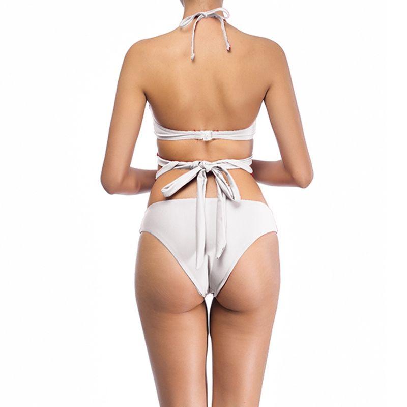2018 New Arrival Sexy High Waist Women Bikini Set Solid Cross Bandage Halter Two Piece Swimwear Female Brazilian Biquini